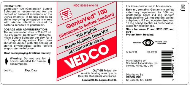 GentaVed® 100 (Gentamicin Sulfate Solution) 100 mg/mL 100 mg/mL