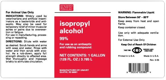 UNAVET 99% Isopropyl Alcohol Gallon